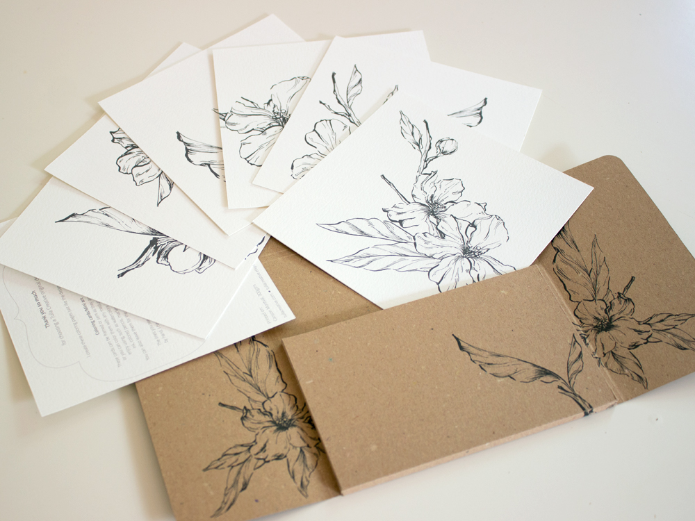 Almond blossom: Coloring cards box set