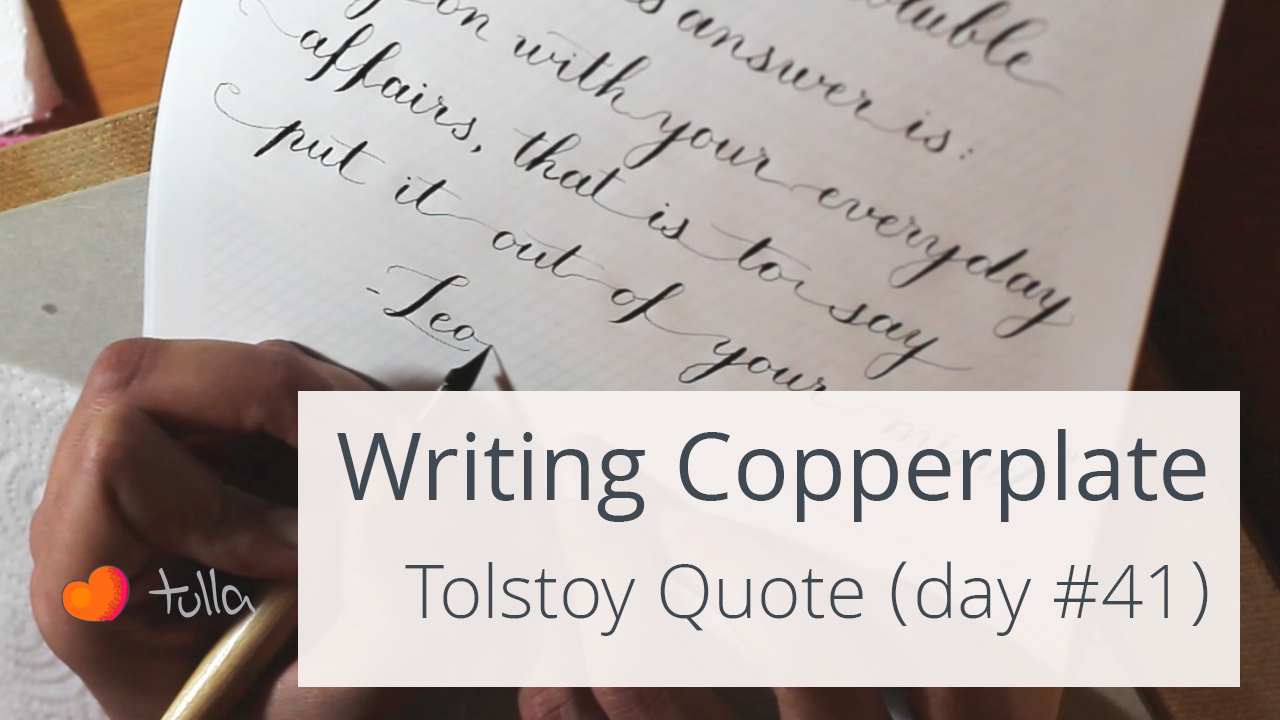 Close up Calligraphy writing: Tolstoy quote