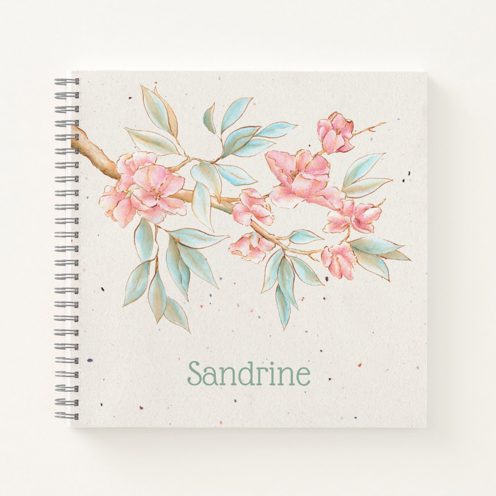 Customizable notebook: Blossoming almond branch