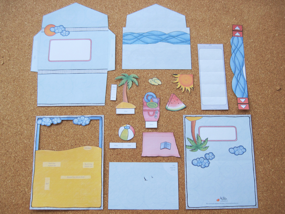 Day At The Beach pop-up card: Instructions 01/05