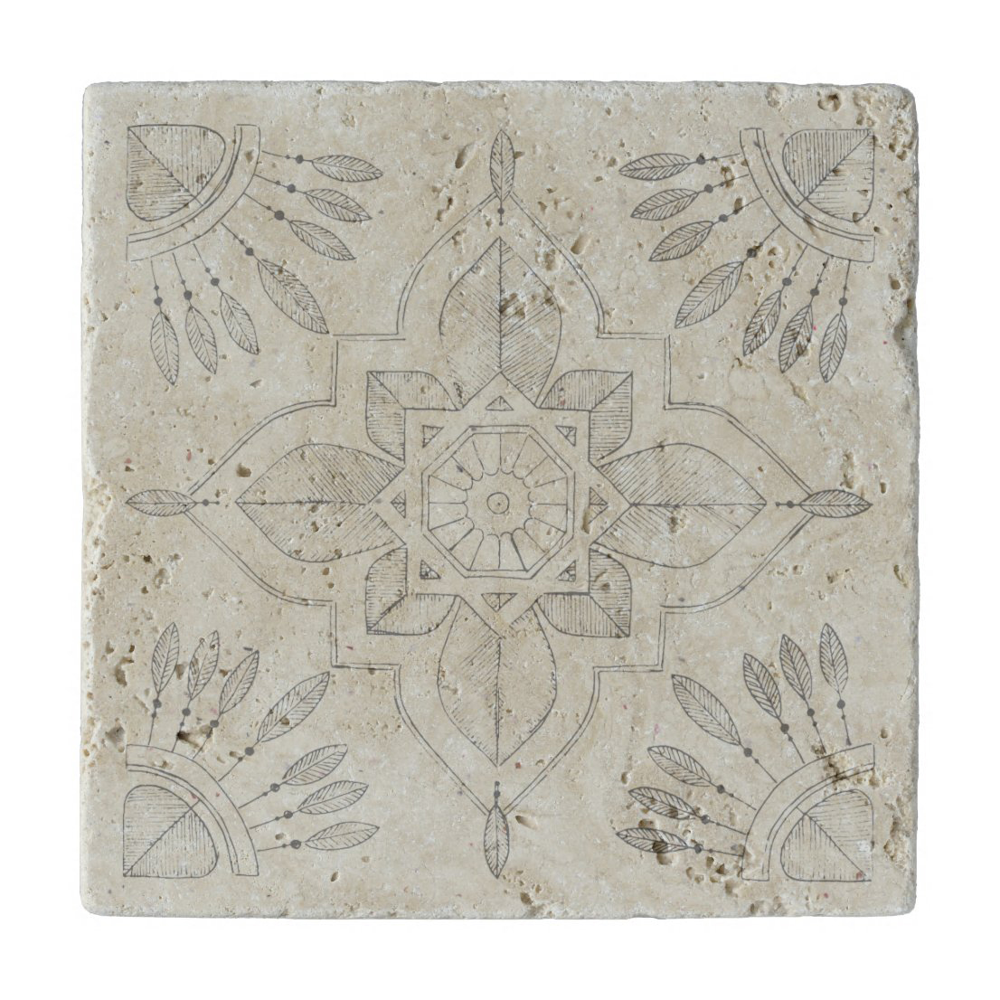 Stone trivet with tribal boho design