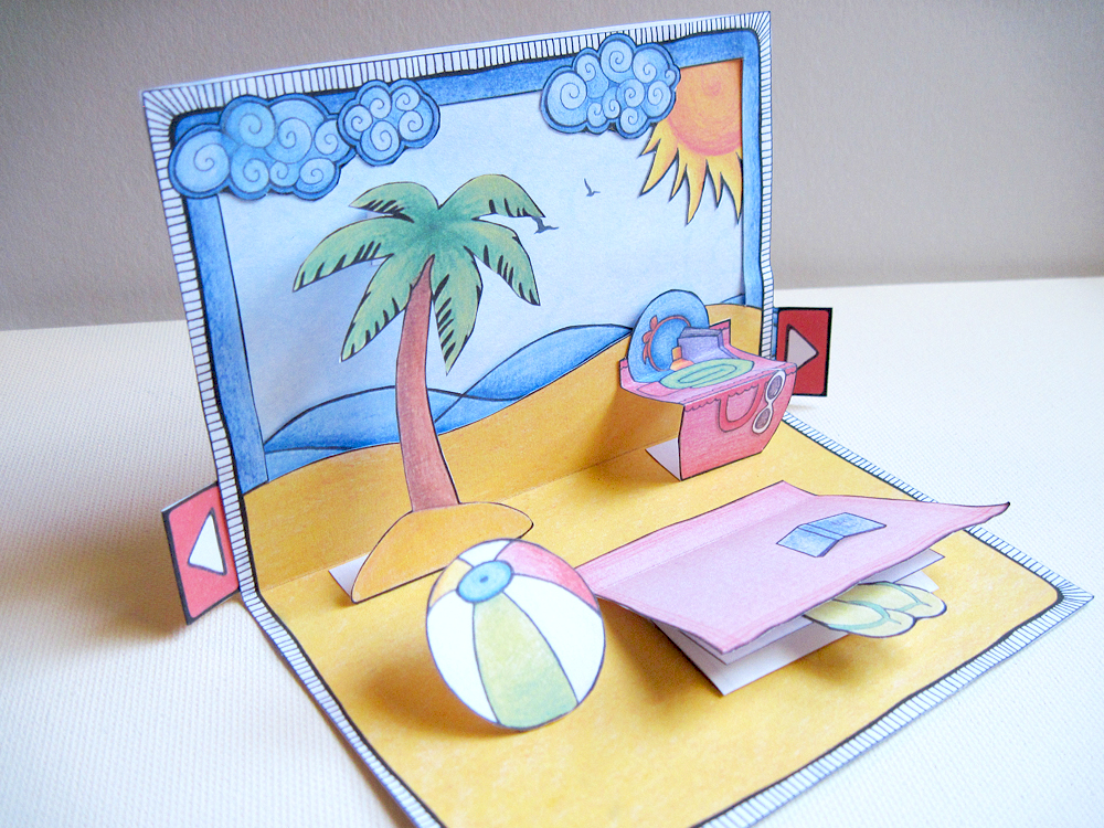 Day At The Beach pop-up card: Instructions 05/05