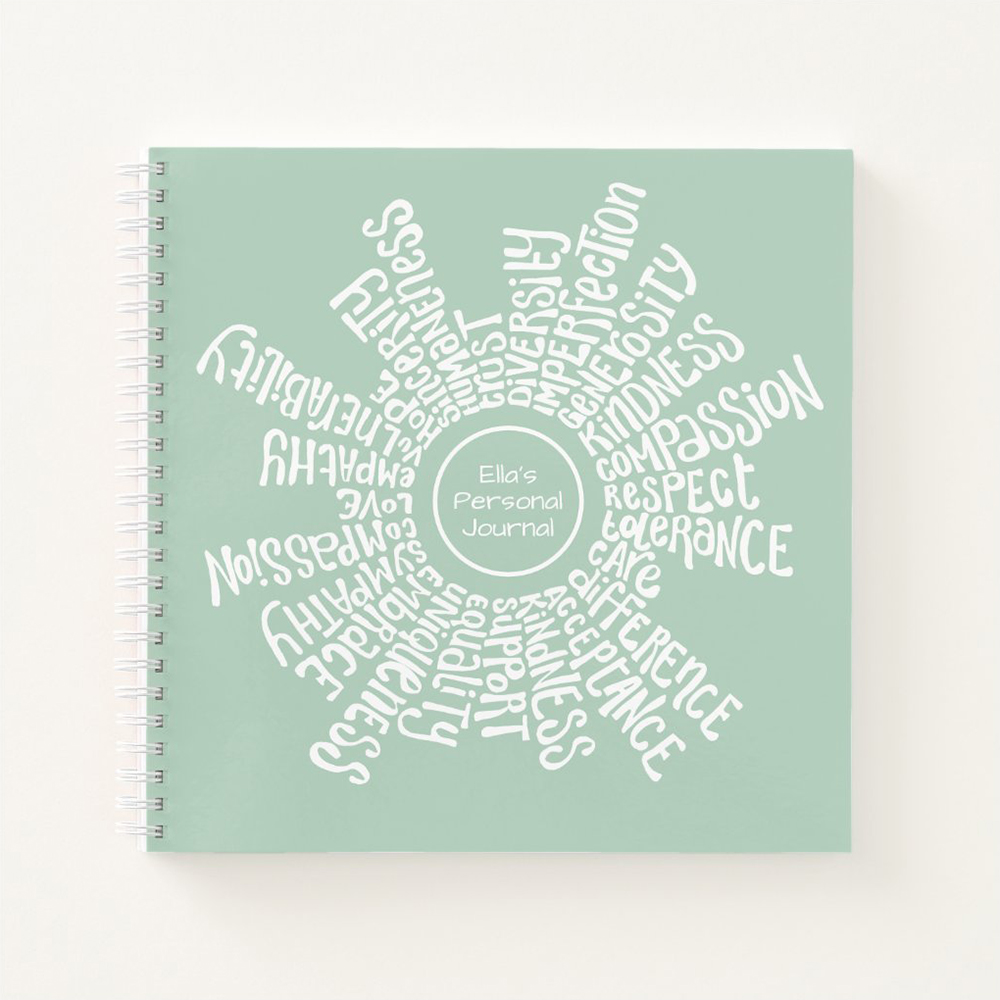 Notebook with positive words lettering