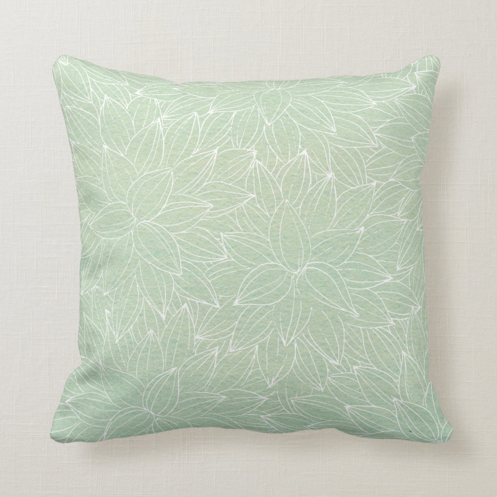 Throw pillow in soothing green & light pattern