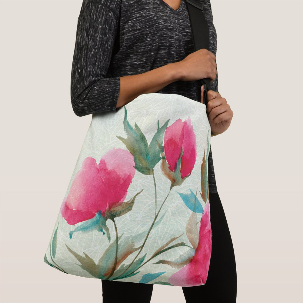 Bold, loose watercolor floral tote bag