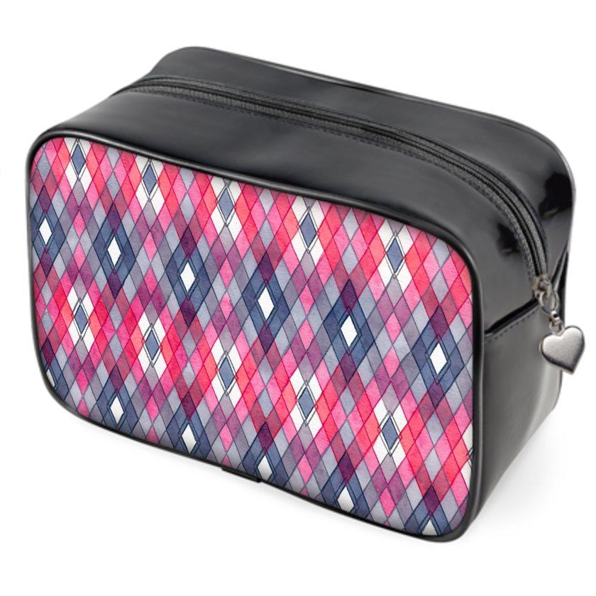 Multi-functional zipper bag: Pink & gray rhombus pattern