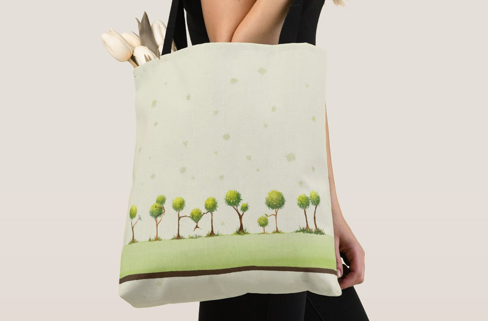 Scribble trees tote bag
