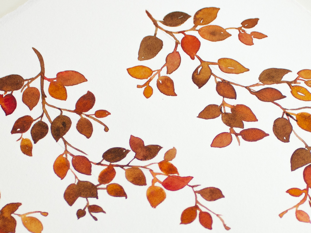 Watercolor leaves: Stress free painting