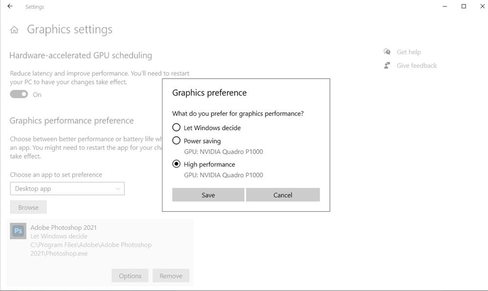 win graphics preferences